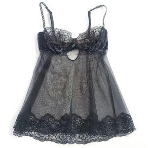 Victoria's Secret Sexy Black Lace & Velvet Slip